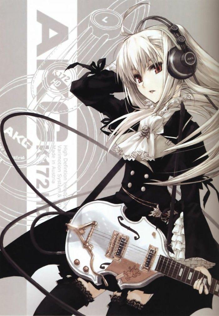 Anime art, girl, musician, guitar
