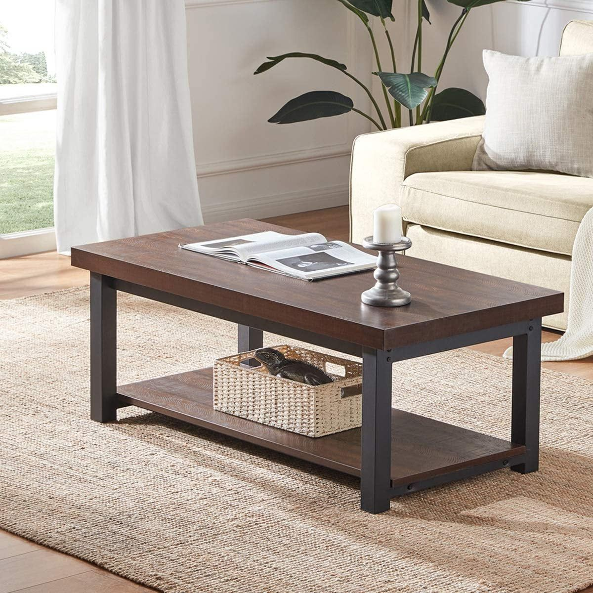 Rustic Wood And Metal Cocktail Table With Shelf 47 Inch Etsy In 2021 Coffee Table Metal Cocktail Table Living Room Side Table [ 1200 x 1200 Pixel ]