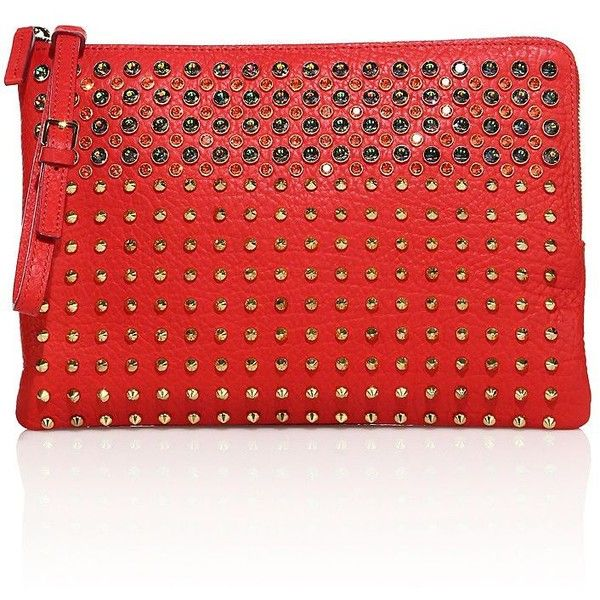 MCM Stark Special Studded Leather Clutch (£815) ❤ liked on Polyvore featuring bags, handbags, clutches, apparel & accessories, ruby red, studded leather purse, studded leather handbags, mcm, red clutches and red leather handbags