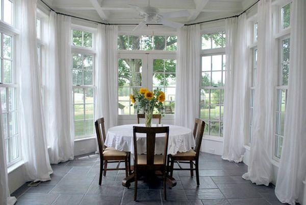 Sunroom Dining Room Elegant White Window Treatments