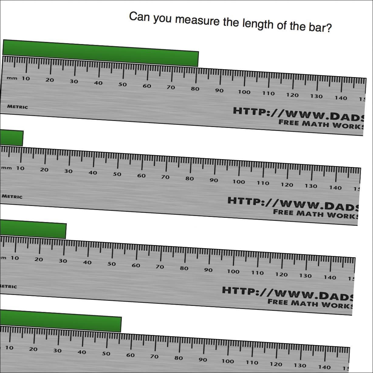 Math Worksheets Measure Centimeters From Zero