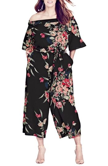 ae649e3db6a Plus-Size Cocktail Dresses   Formal Dresses. City Chic Misty Floral Jumpsuit