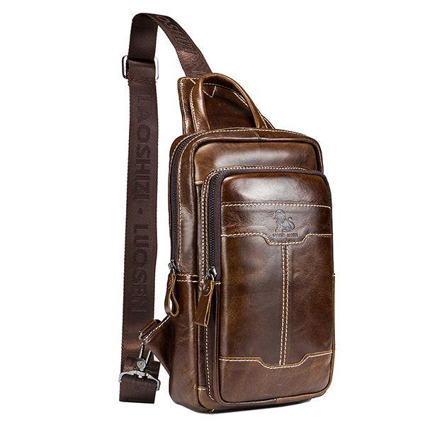 42a154157ca2 Genuine Leather Vintage Business Chest Bag Crossbody Bag For Men ...