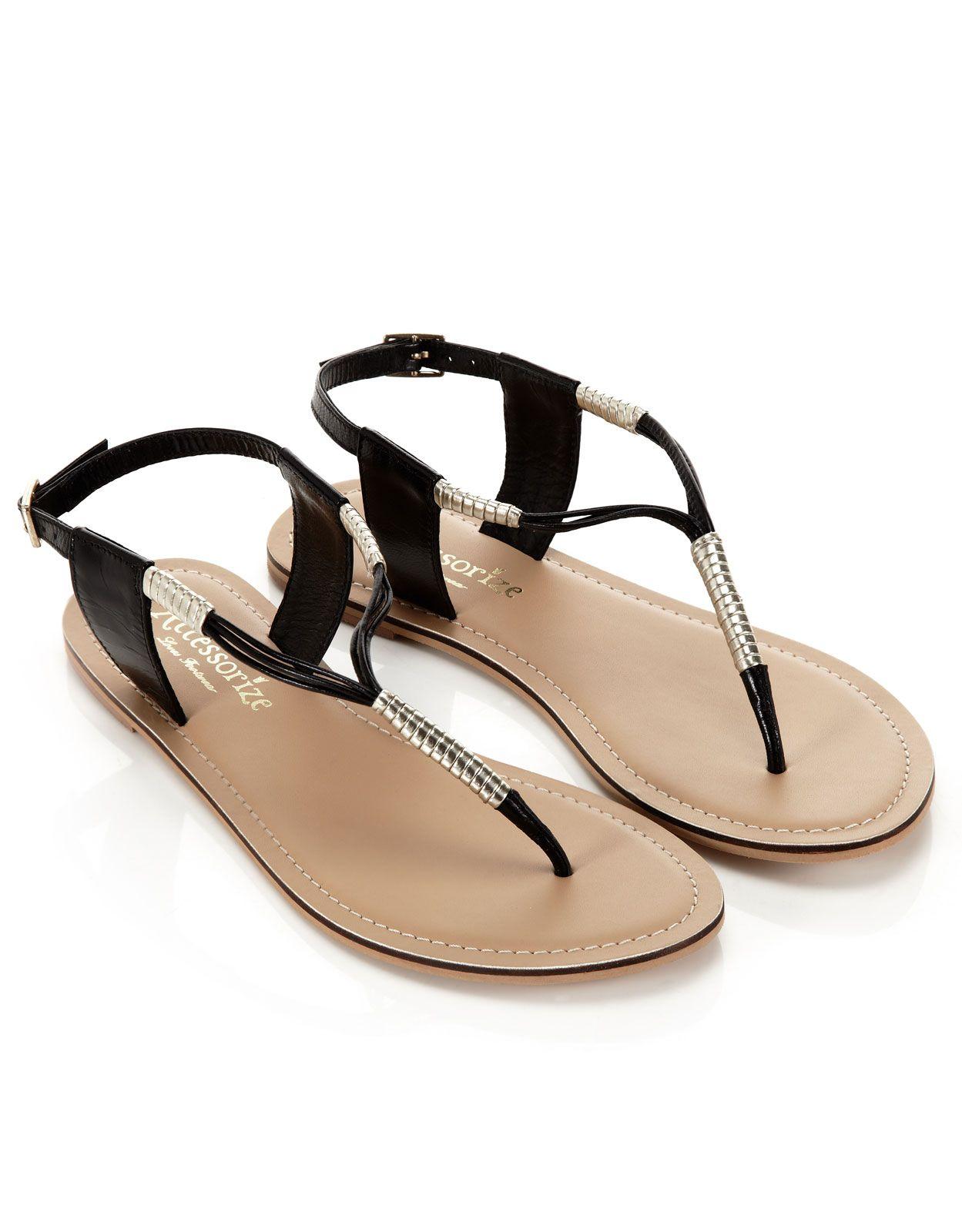 Umwickelte Sandalen mit Zehensteg | Schwarz | Accessorize