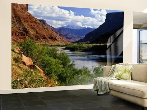 Wall Mural - Large: River Valley With View of Fisher Towers and La Sal Mountains, Utah, USA by Bernard Friel : 144x96in #utahusa