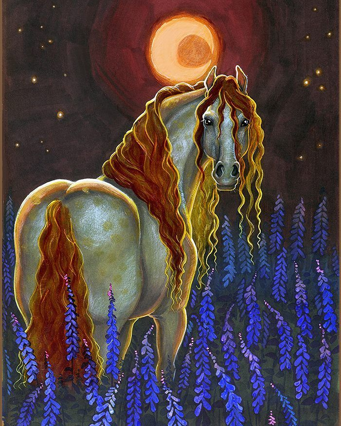 "Full moon "", a field of lupines"" and a horse "", what else is necessary for happiness?)"
