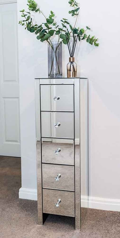 Mirrored Bedside Table With Drawers: Mirrored 5 Drawer Tall Unit, Crystal Handles