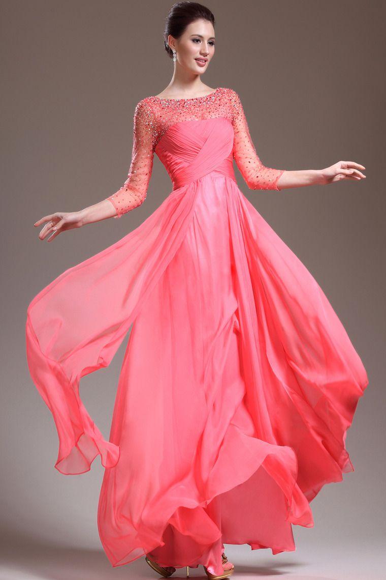 $139.99 - New Arrival 3 4 Length Sleeve A Line Floor Length Prom ...