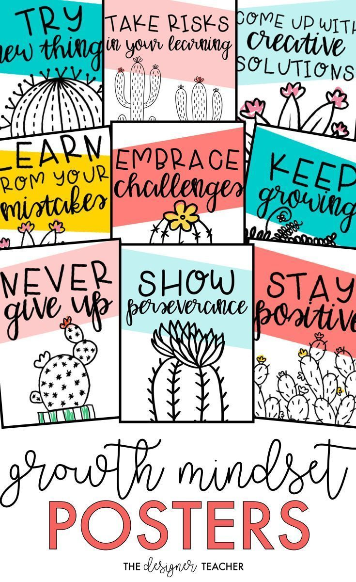 Cultivate A Growth Mindset In Your Students With These Adorable Cactus Theme Printable Posters