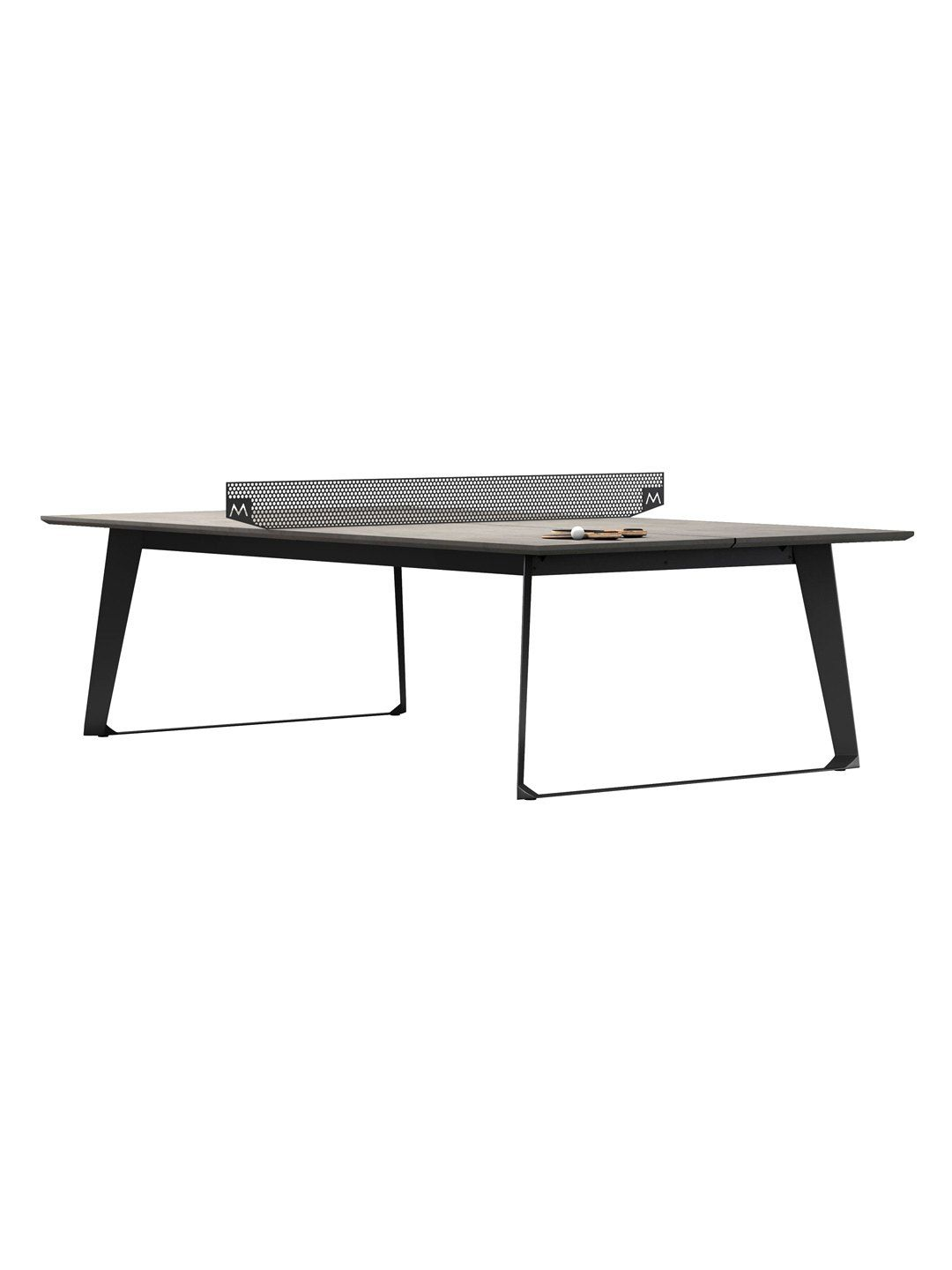 Amsterdam indoor outdoor ping pong dining table by modloft gray concrete gilt