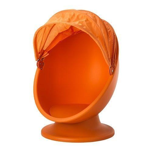Ikea Ps Lomsk Orange Swivel Kids Egg Chair W Pull Down Hood Space