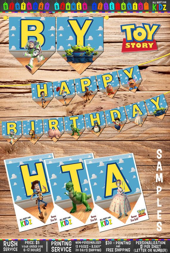 "This listing is for DIGITAL: Toy Story – Birthday Banner. The size of each letter 8x10"". One sheet contains one flag. The listing includes 13 flags so, there will be ""Happy Birthday"" letters on each page. All sheets are intended for 8.5x11"" print size.  After making purchase you will receive a 13 high resolution (300dpi) JPEG images.  ▬▬▬ How it works ▬▬▬ ☼ Please choose Personalized or Non-Personalized Birthday Banner ☼ Click on add to cart and make payment  ▬▬▬ Personalization details ▬▬▬…"