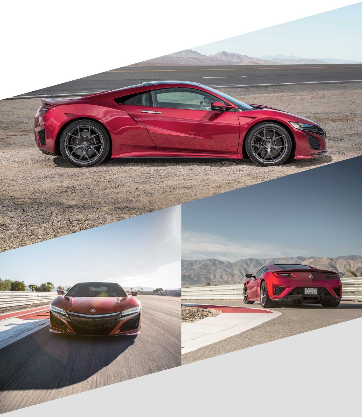 Red Acura NSX Side View In The Desert.