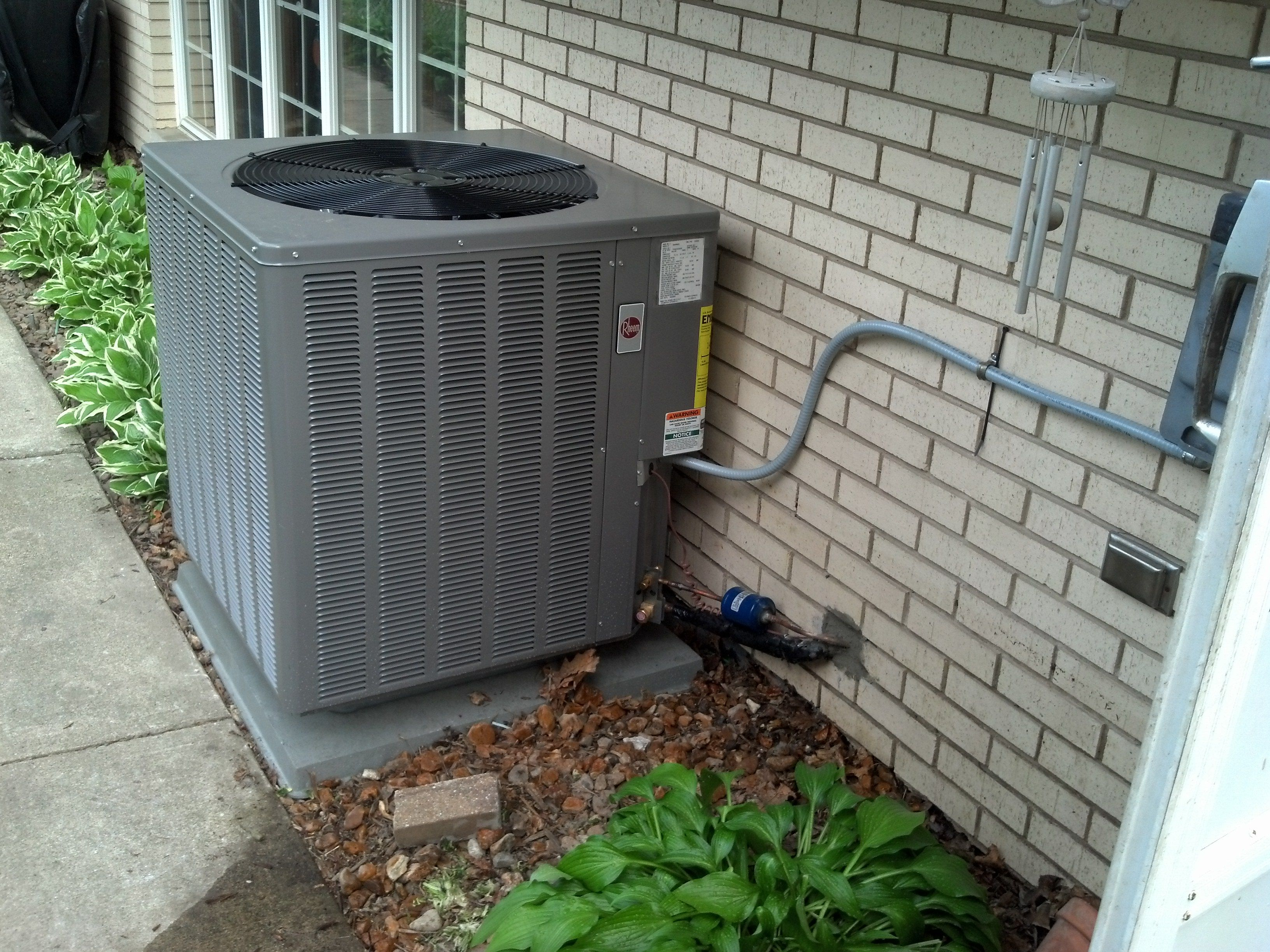 Rheem 14 Seer Condenser Model 14ajm Air Conditioner Installation Outdoor Decor Forced Air Furnace