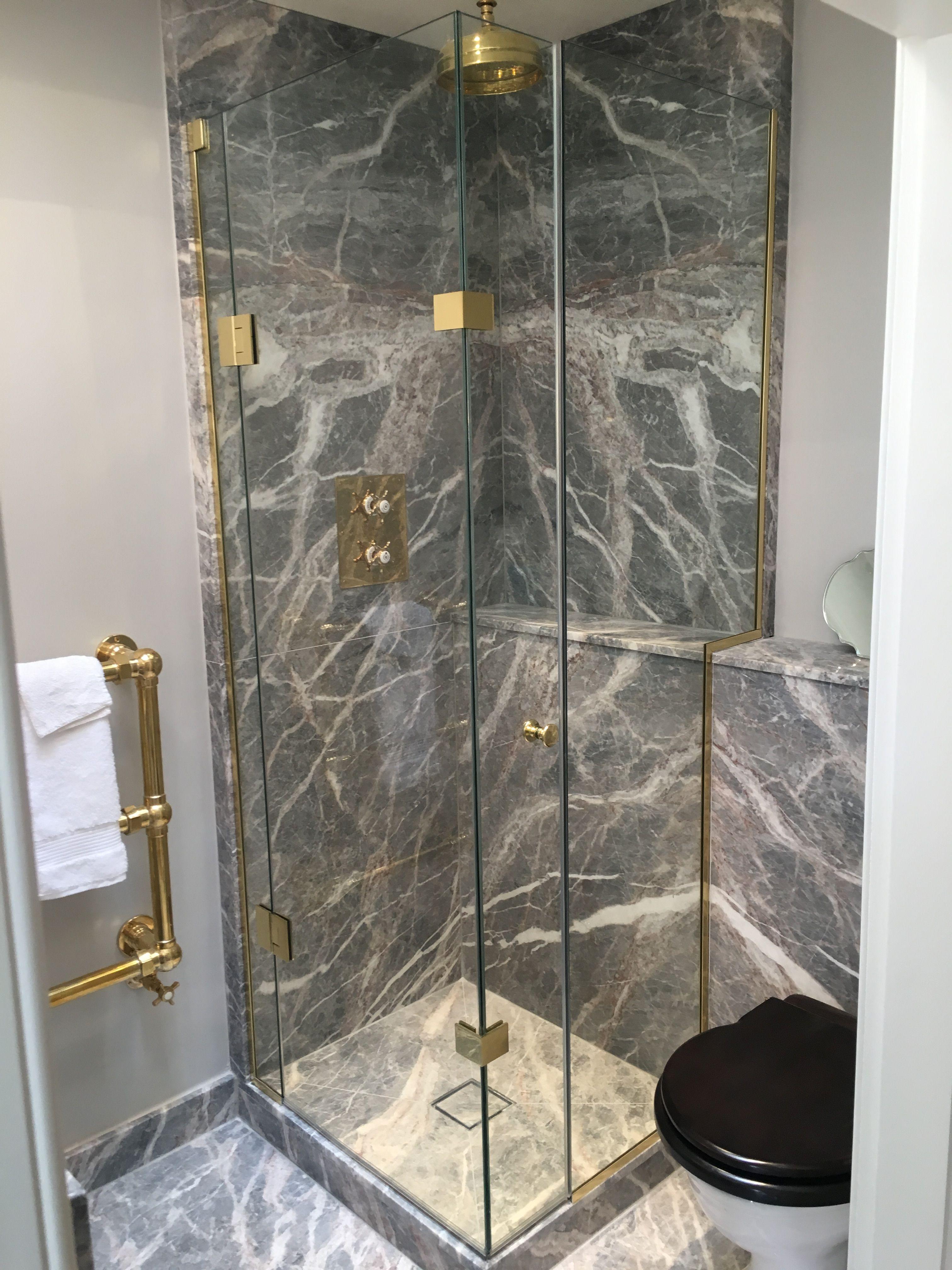 Frameless corner shower enclosure with fixed 90 degree corner door ...