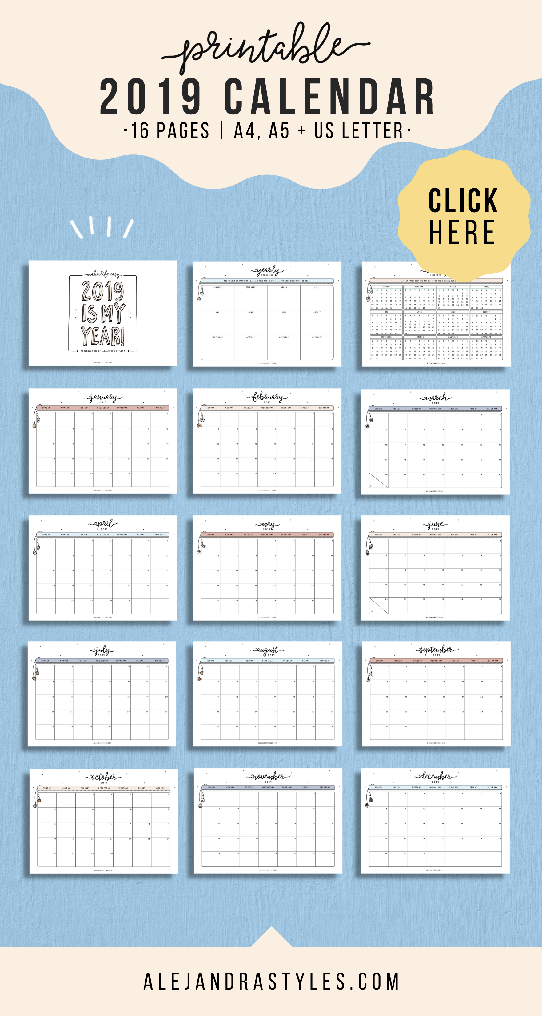 935e7229926dc Printable Calendar 2019! This is a fun monthly design to help you get  excited to organize your life! It includes a Yearly Overview and Year at a  Glance to ...
