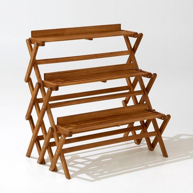 Folding 3 Level Garden Shelving Unit Outdoor Chairs