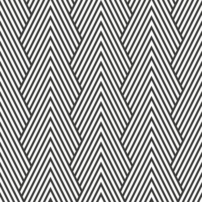 Monochrome Chevron Wallpaper Self Adhesive Wallpaper Wall Etsy In 2021 Chevron Wallpaper Art Deco Pattern Pattern