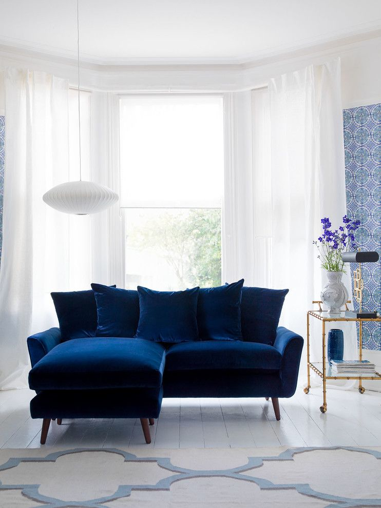 Blue Living Room Ideas Blue Sofa Blue Wall Pattern Blue Flower Pattern On Floor Big Window White Curta Blue Sofa Living Blue Sofas Living Room Blue Velvet Sofa