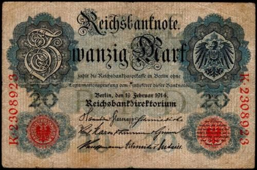1914 WWI Germany Banknote 20 Mark, Twenty Zwanzig Mark