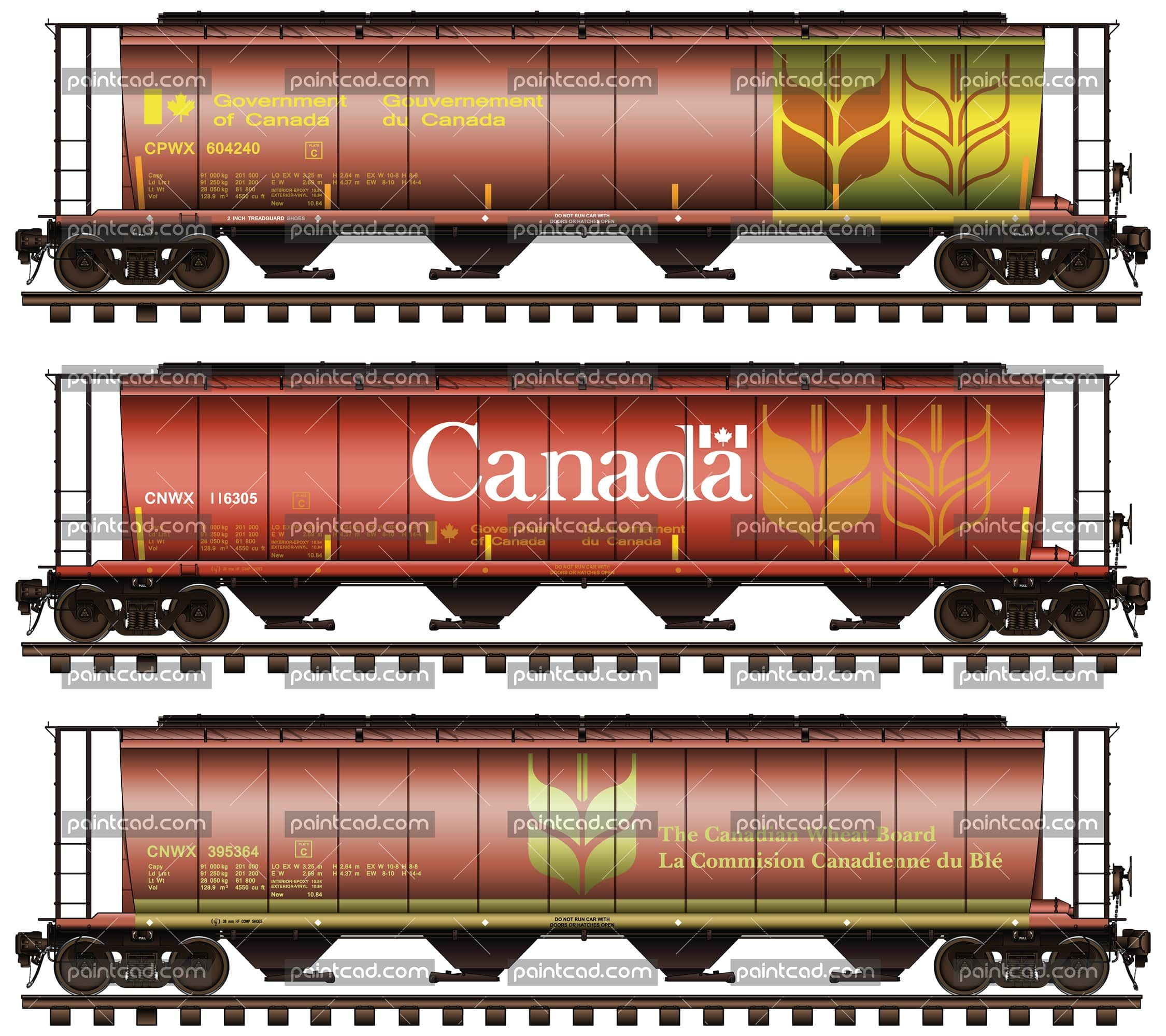 Covered Hopper Car Set In Livery Of The Canadian