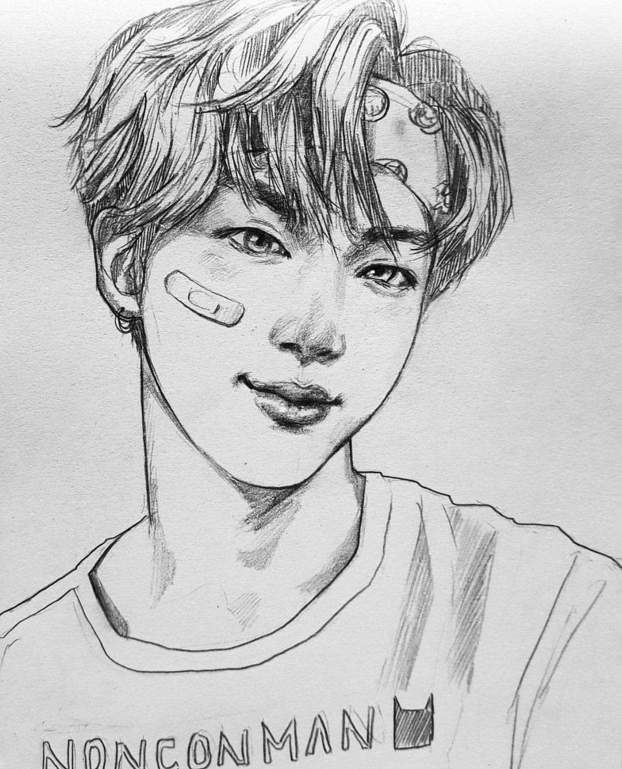 Line Art Kpop : Bts fanart jin dibujo pinterest and drawings