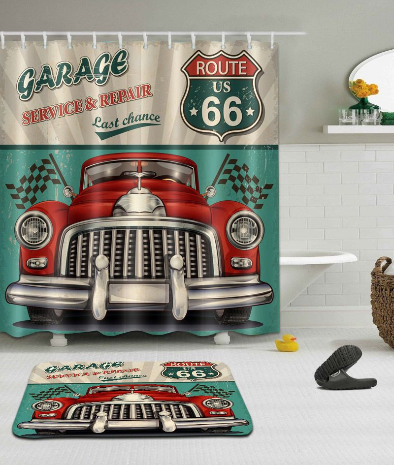 72 79 Route Us 66 Car Polyester Fabric Shower Curtain Bathroom