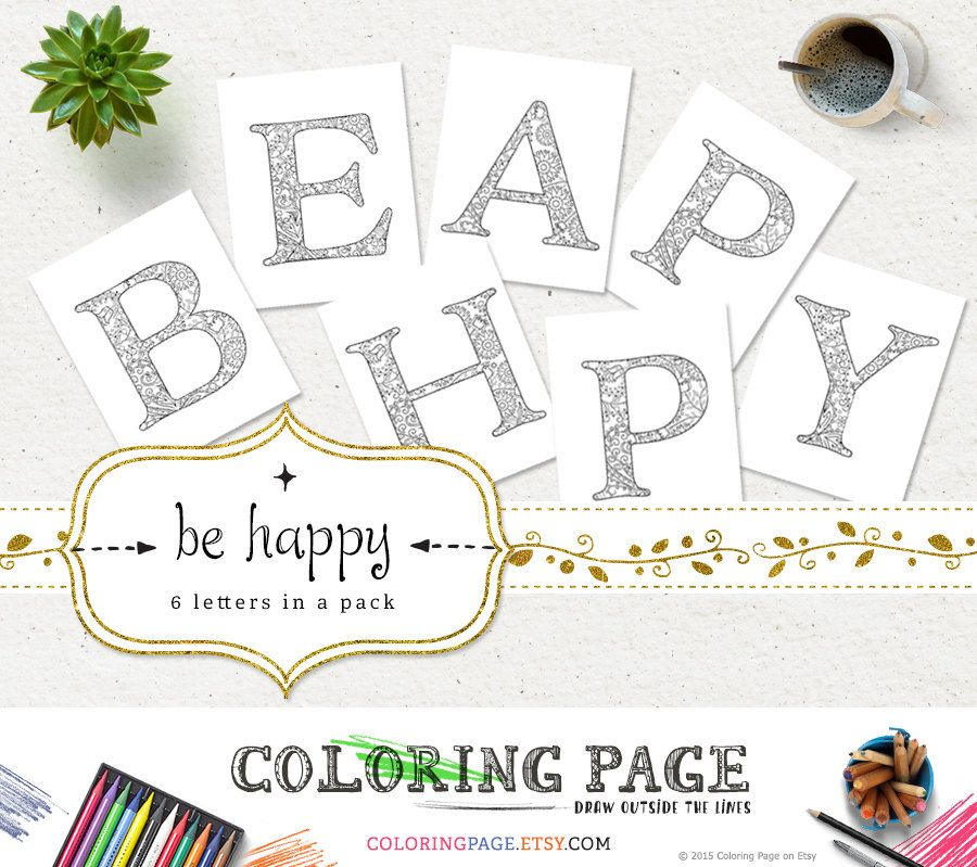 sale coloring pages be happy printable alphabets coloring letters anti stress adult coloring
