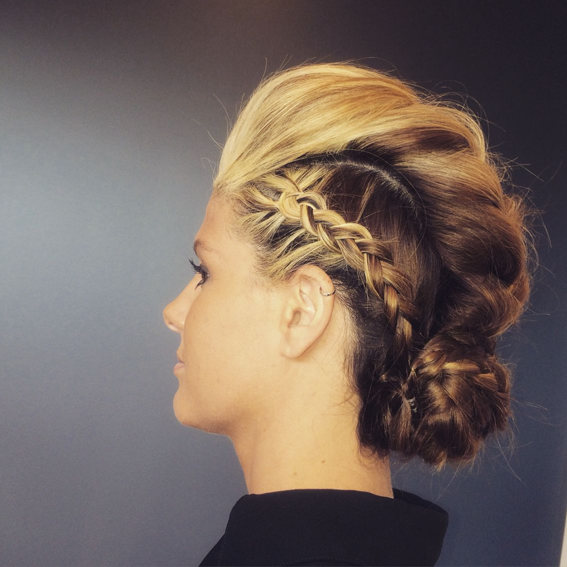 Braided updo from training at blo orlando pomp and hair