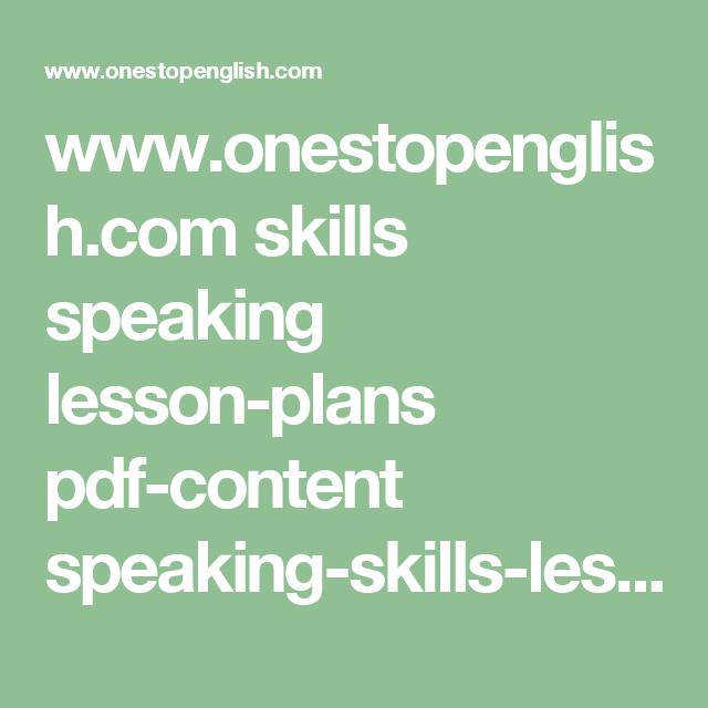 www onestopenglish com skills speaking lesson-plans pdf