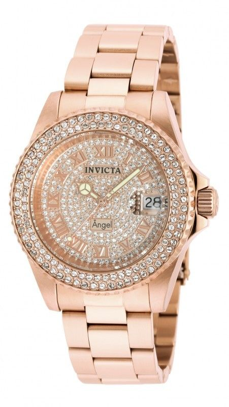 Invicta Mujer 90256 Angel Reloj Acero Inoxidable Pave Rose Gold Watches Stainless Steel Bracelet Quartz Watch