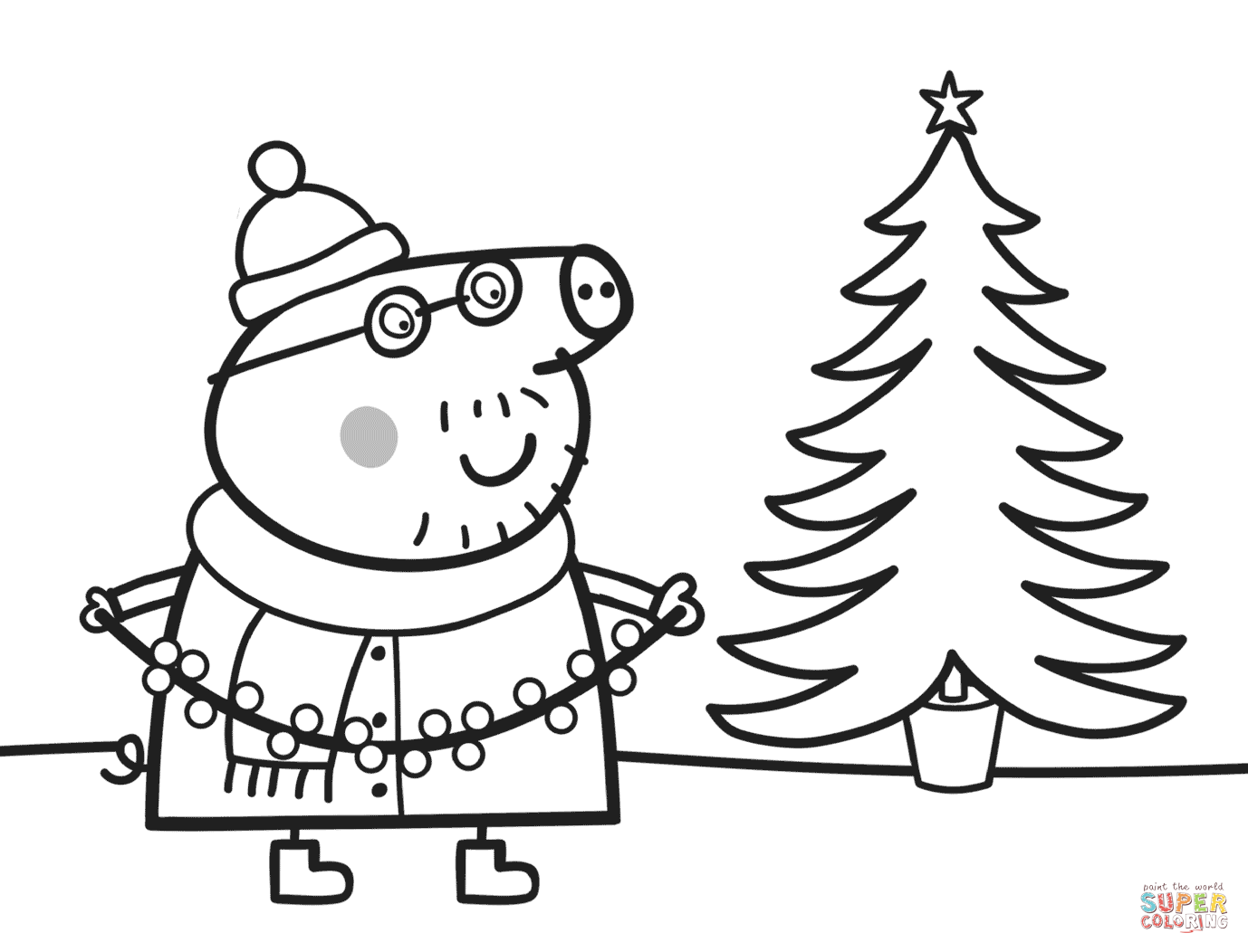 Daddy pig decorates xmas tree coloring page free printable coloring pages