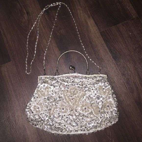 Sequin & Beaded Satin Evening Bag Stunning bag perfect for any formal event!  Second picture shows tiny powder mark.  11 * 7 inches with snap clasp. Bags Mini Bags