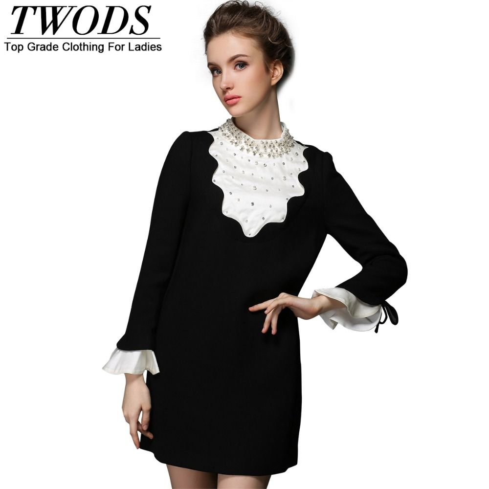 S- 5XL Front White Autumn Black Short Dress Luxury Pearl Beading Ruffles  Long Sleeve A line Mini 758c381ed064