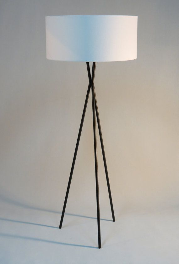 Handmade Tripod Floor Lamp With Black Colored Metal Stand Drum Lampshade Modern Style Different Colors Lampshad Tripod Floor Lamps Floor Lamp Drum Lampshade