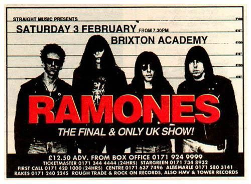 On this day 1996, The Ramones played their last gig in the UK at The Brixton Academy after 22 years together #Legends