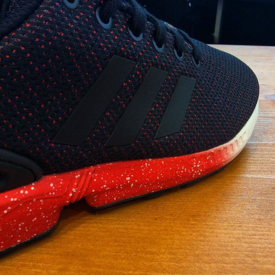 BOOOOM Adidas ZX Flux Black Red Speckle #adidas