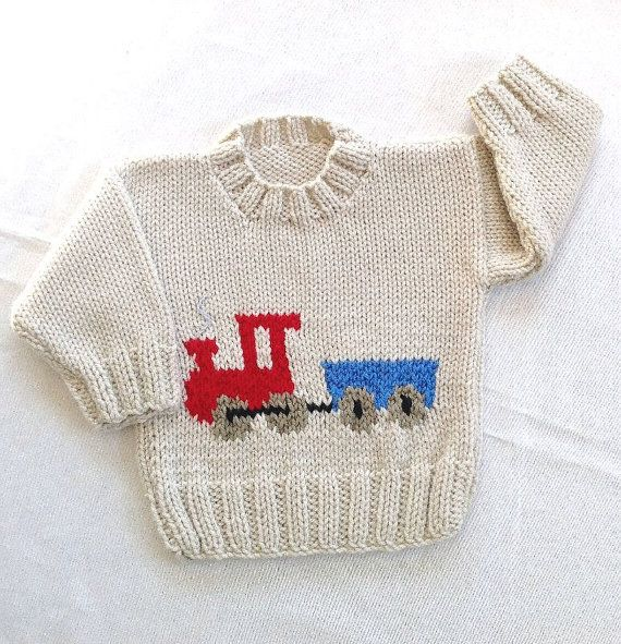 Baby knit sweater with train motif, 6 to 12 months sweater, Toddler knit sweater, Baby shower gift,