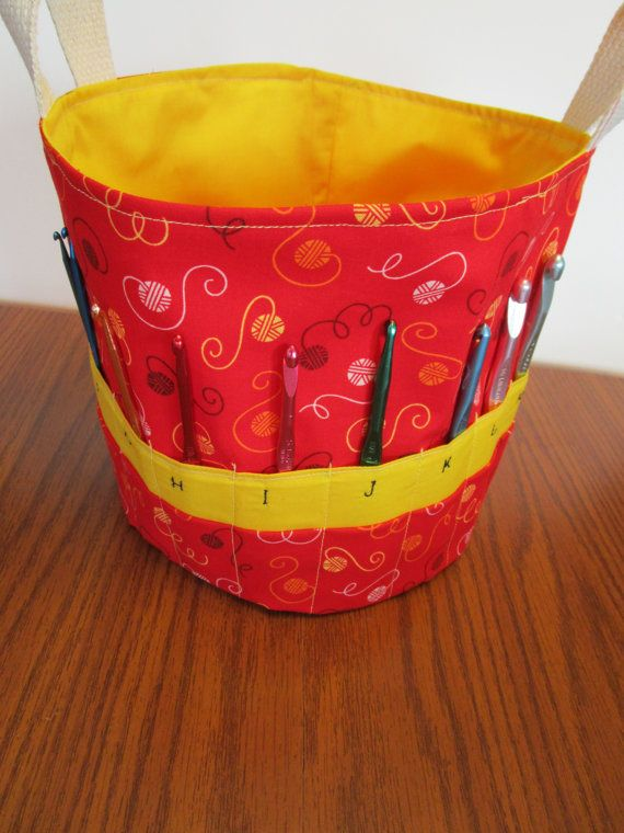 Crochet Hook Storage Basket with pockets by KathieSewHappy