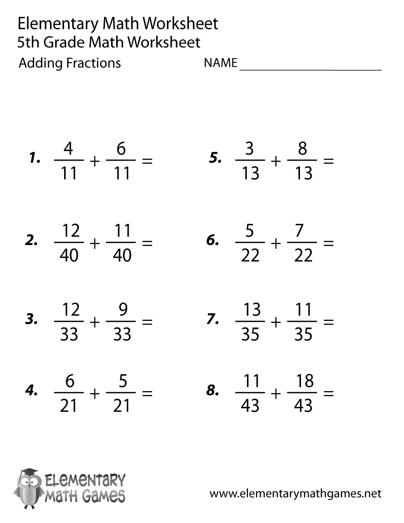 Fifth Grade Adding Fractions Worksheet Teaching – Math Worksheets for Fifth Grade