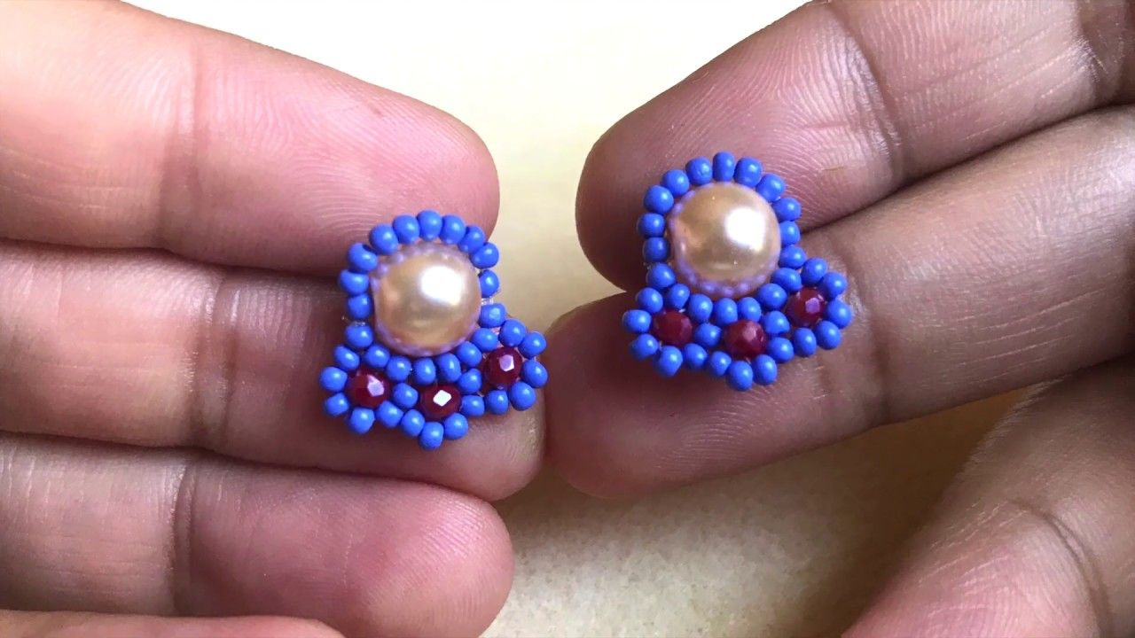 Beaded stud earring diy post beaded earring easy and