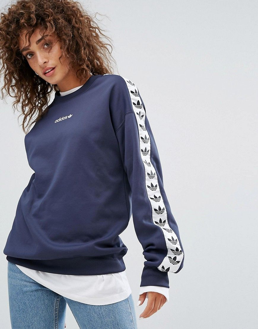 adidas Originals Tnt Taped Side Stripe Crew Neck Sweat In Navy Blue at  asos.com