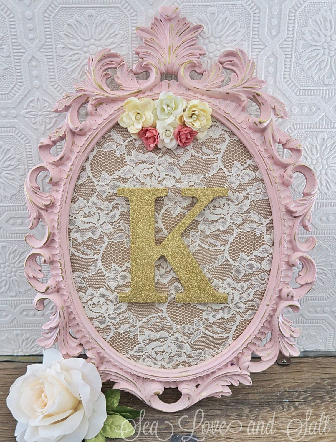 girl nursery letters in a frame decorative letters shabby chic nursery hanging wall letter. Black Bedroom Furniture Sets. Home Design Ideas