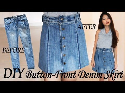 f037f57fae DIY Turn Your Old Jeans Into Skirt | Button Front Denim Skirt from Pants |  Clothes Transformation - YouTube