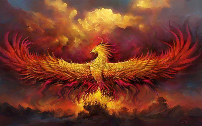Fiery Phoenix, 4k, fire bird, art