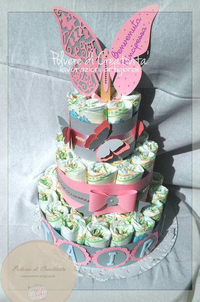 Torta di Pannolini - Diaper Cake Handmade , by Polvere di Creatività - lavorazioni artigianali, 35,00 € su misshobby.com