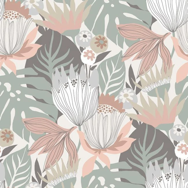 Sample Retro Tropical Leaves Peel Stick Wallpaper In Green And Pink Burke Decor Tropical Wallpaper Peel And Stick Wallpaper Wallpaper