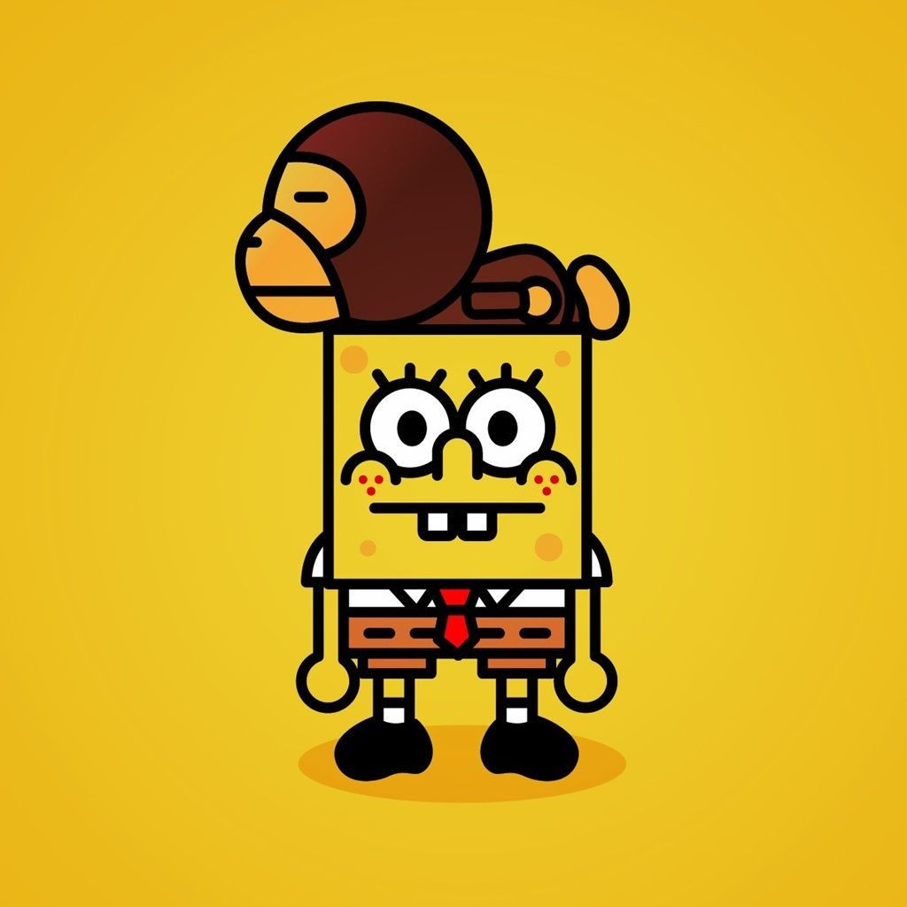 Wallpaper iphone monkey - Funny Wallpaper Spongebob And Monkey