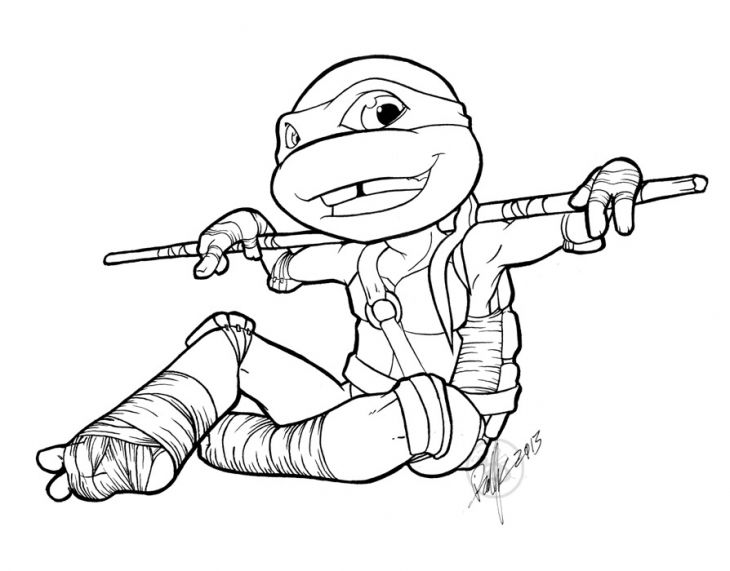 Printable Donatello From Tmnt Coloring Sheet Online Letscolorit Com Ninja Turtle Warna