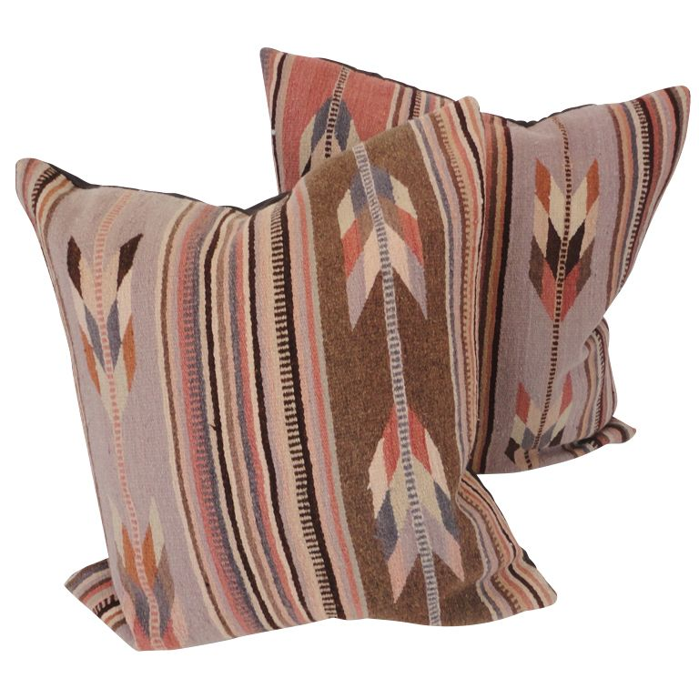 Mexican Zapotec Indian Weaving Pillows In Pastel Feather
